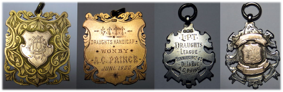 2 draughts league medals awarded to Arthur Charles Prince, who worked for De la Rue