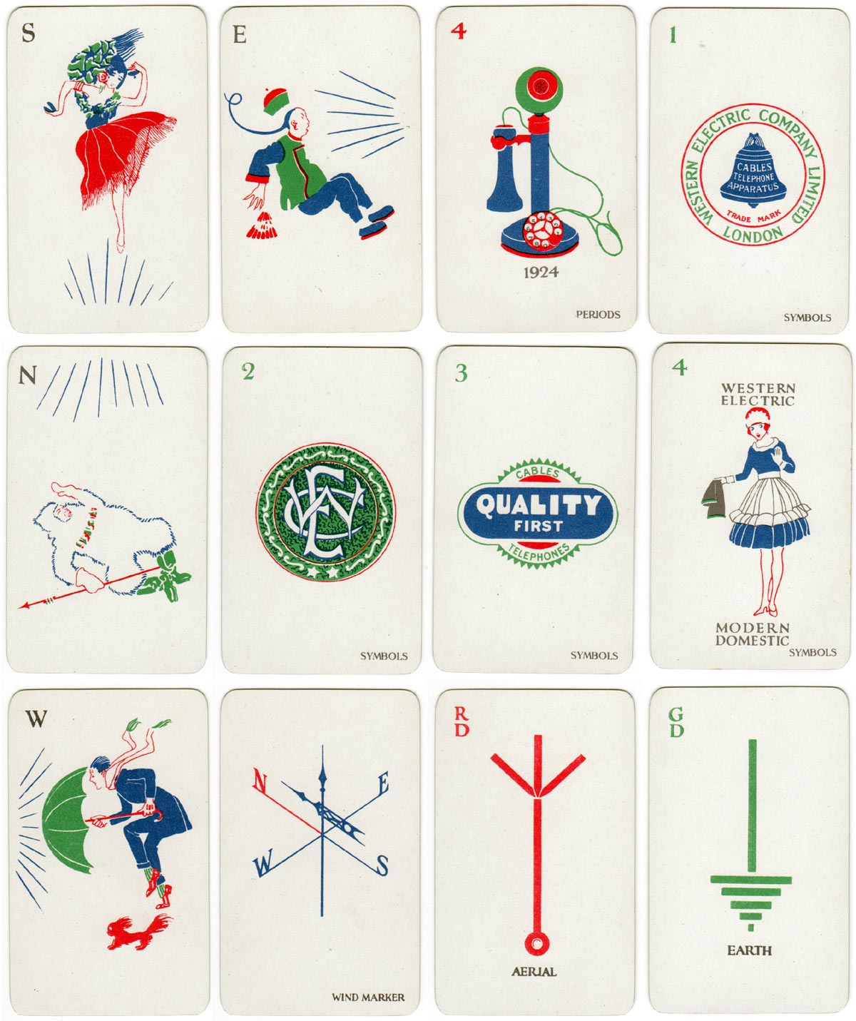 Cards from 'Electrical Mah Jong' produced by De La Rue for The Western Electric Company Ltd in 1924