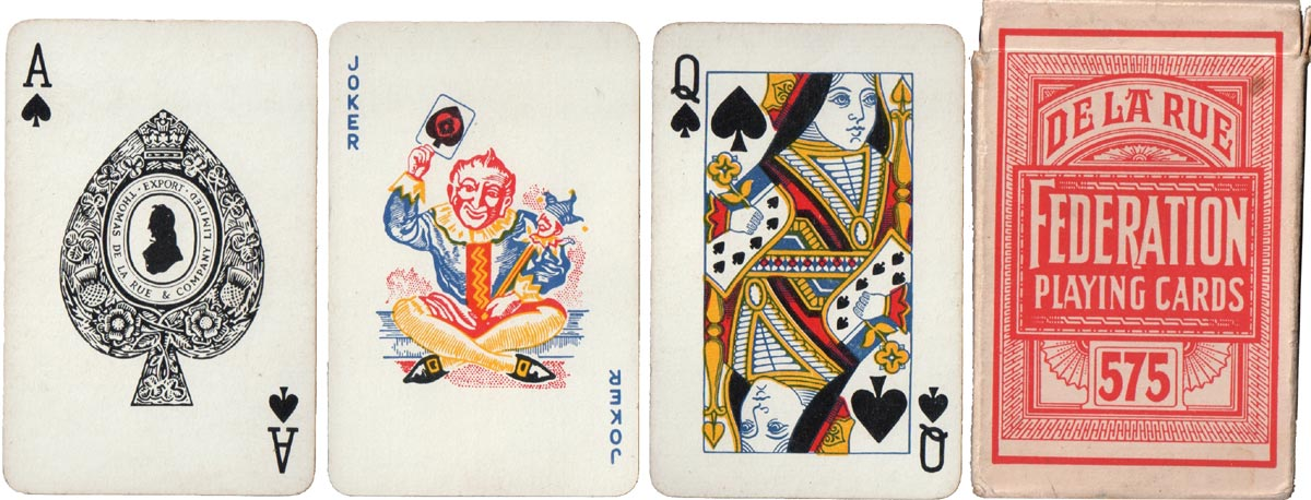 Federation playing cards with export version of De la Rue's silhouette ace of spades