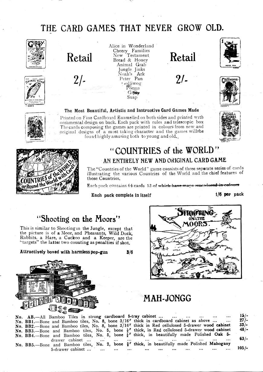 Thos De La Rue & Co. Games Leaflet, c.1910