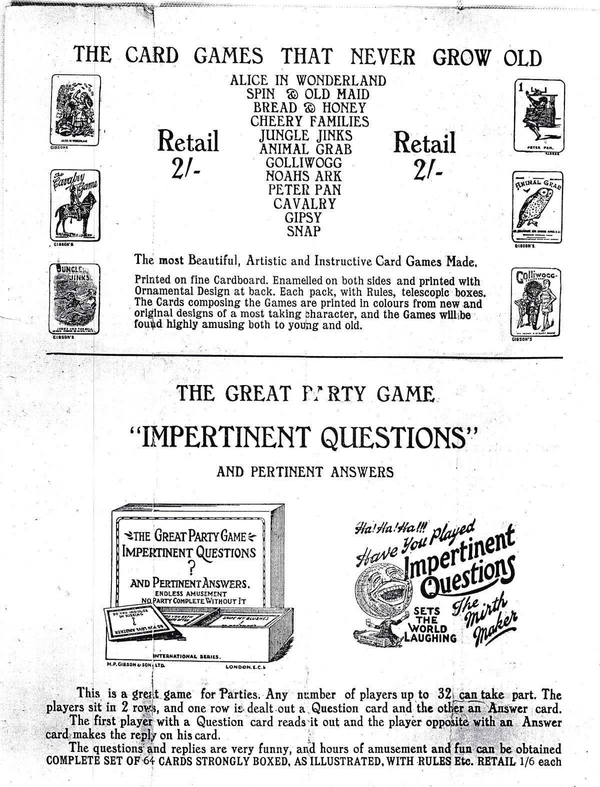 Gibsons Games Leaflet, c.1920