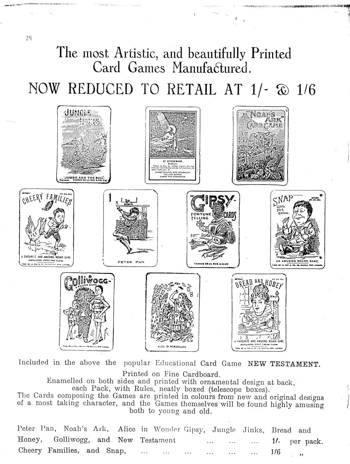 Gibsons Games Leaflet, c.1939