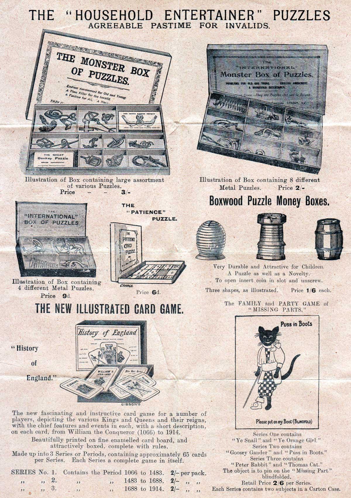 Thos De La Rue & Co. Games Leaflet, c.1910
