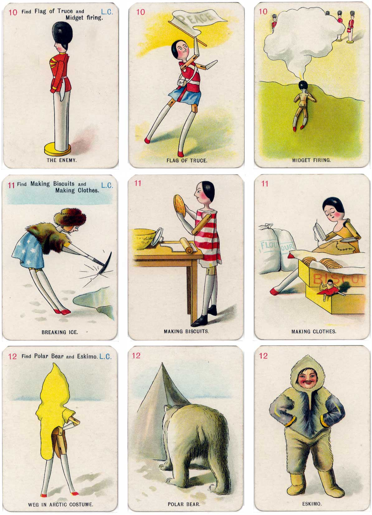 "cards from the ""Golliwogg"" card game illustrated by Florence Kate Upton (1873-1922) and published by Thos de la Rue & Co, c.1902"