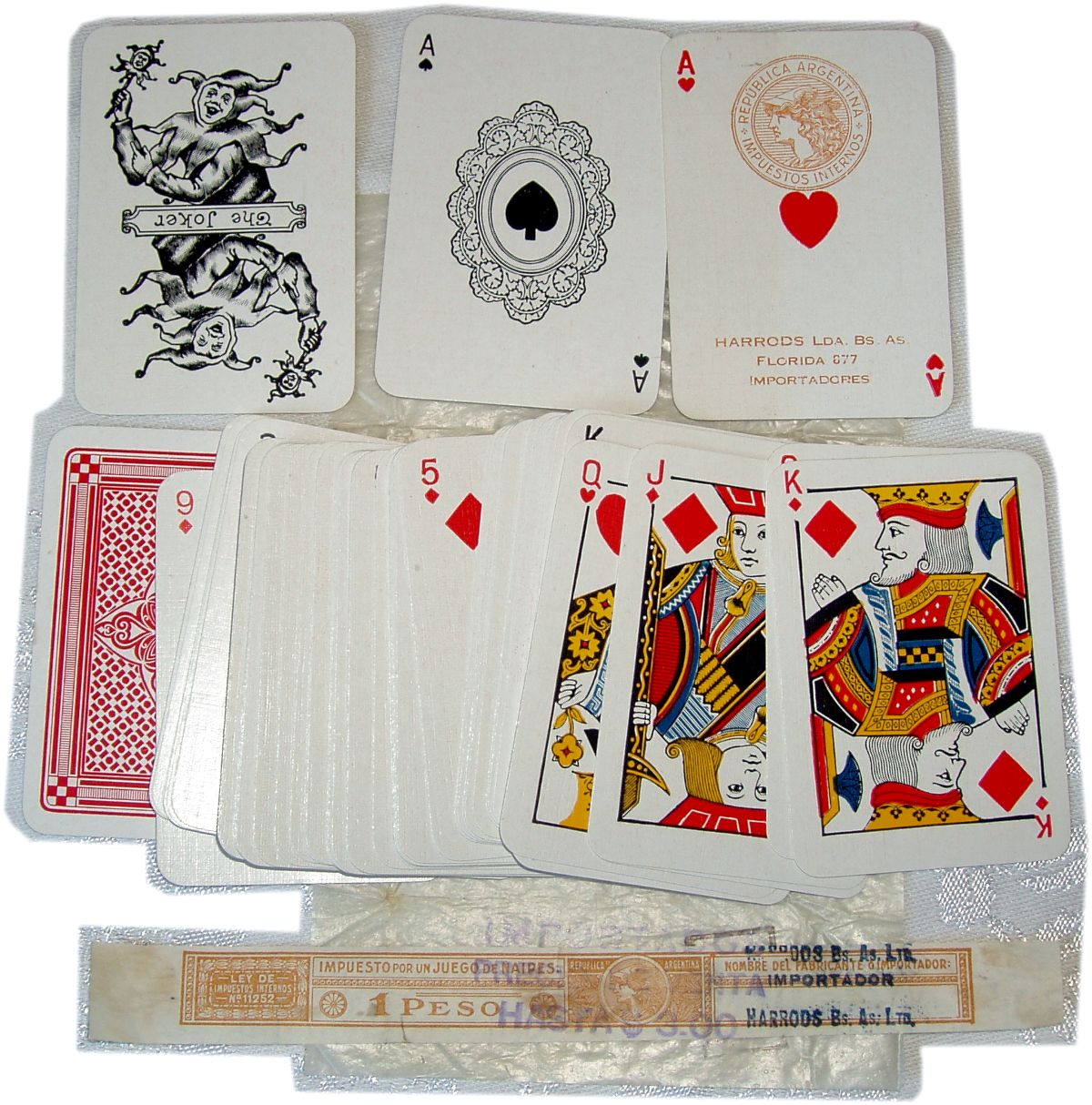 Patience playing cards with doilly ace of spades for Harrods, Buenos Aires Ltd, c.1920
