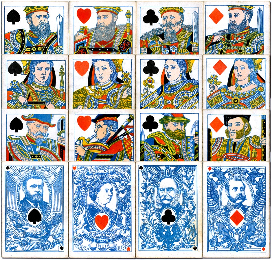"""International Playing Cards"" for the marriage of Alfred, Duke of Edinburgh and Princess Alexandra of Russia on 23 January 1874, printed by De la Rue & Co."