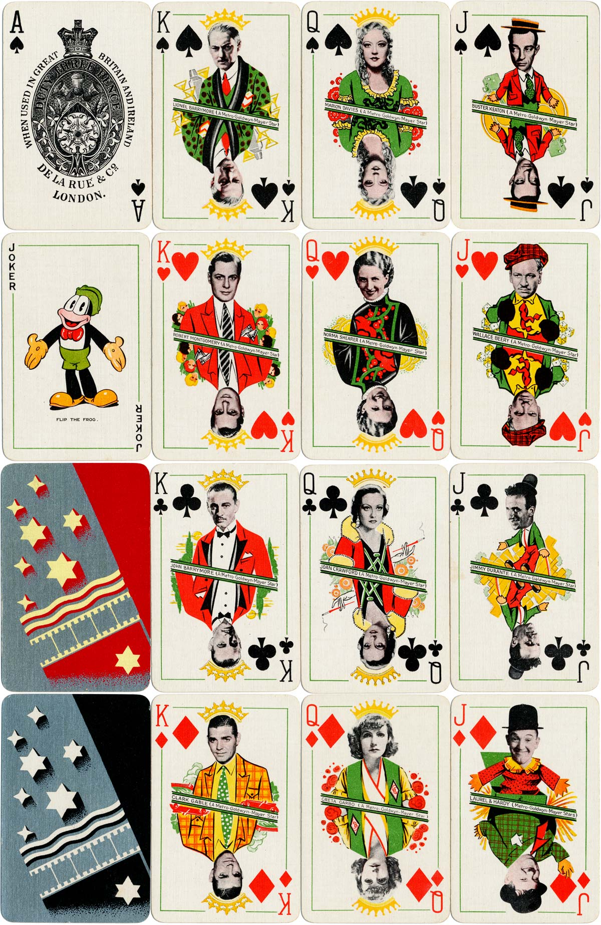 'Film Star Playing Cards' for Metro-Goldwyn-Mayer manufactured by De la Rue & Co., London, 1933