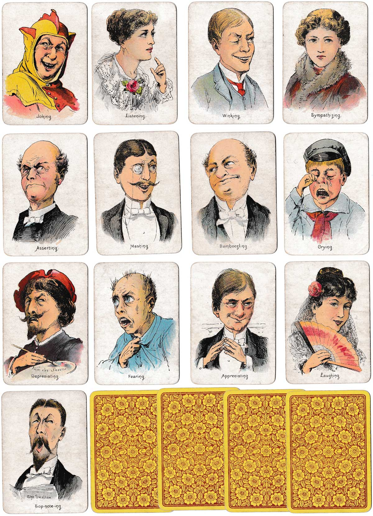 """Moods & Faces"" round game by Thos de la Rue & Co Ltd,. c.1890"