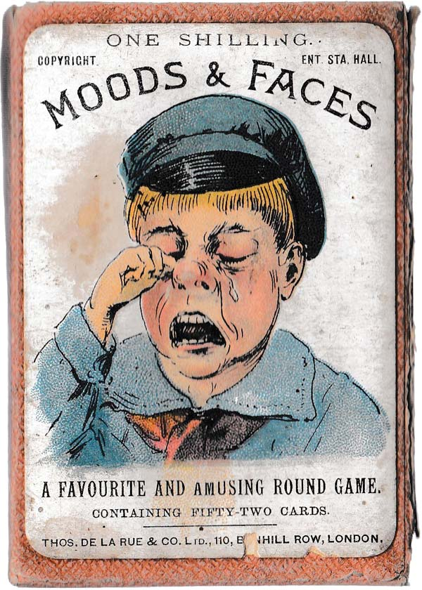 "Box from ""Moods & Faces"" round game by Thos de la Rue & Co Ltd,. c.1890"