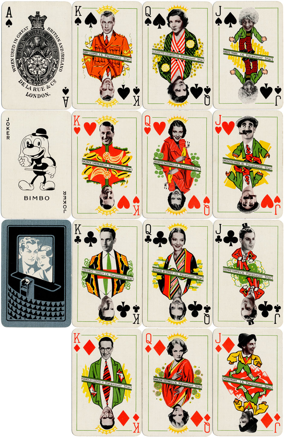 'Film Star Playing Cards' for Paramount manufactured by De la Rue & Co., London, 1933