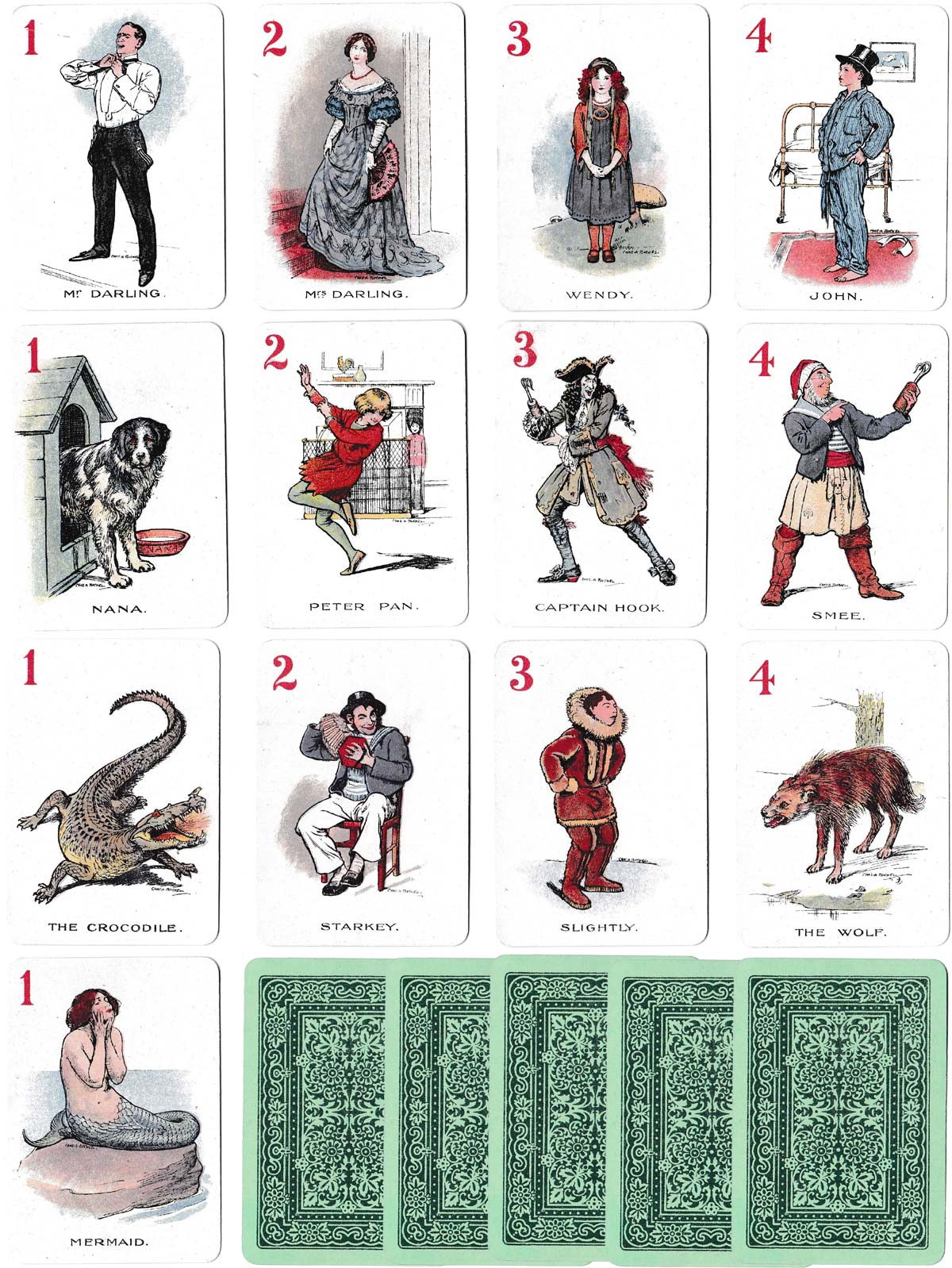 """""""Peter Pan"""" pictorial card game published by H. P. Gibson & Sons Ltd in c.1912 and manufactured by Thomas de la Rue & Co Ltd  from drawings by Charles A. Buchel"""