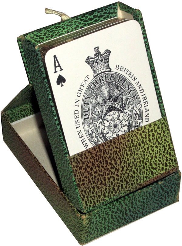 Pneumatic playing cards in faux snakeskin box, c.1935