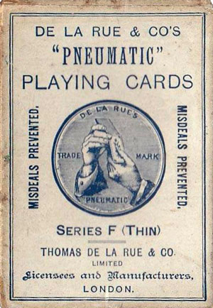 De la Rue's Pneumatic Playing Cards Series F (Thin) box
