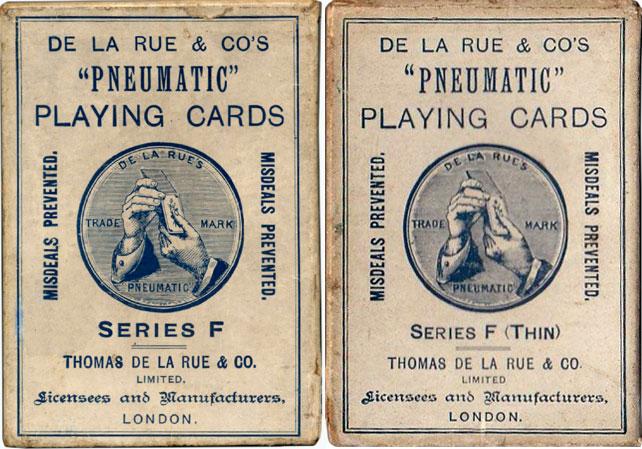De la Rue Pneumatic Series 'F' playing cards, c.1925