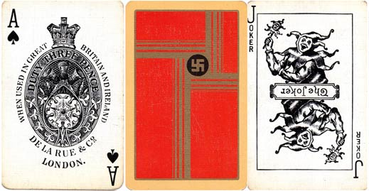 Swastika design playing cards by De La Rue, c.1925