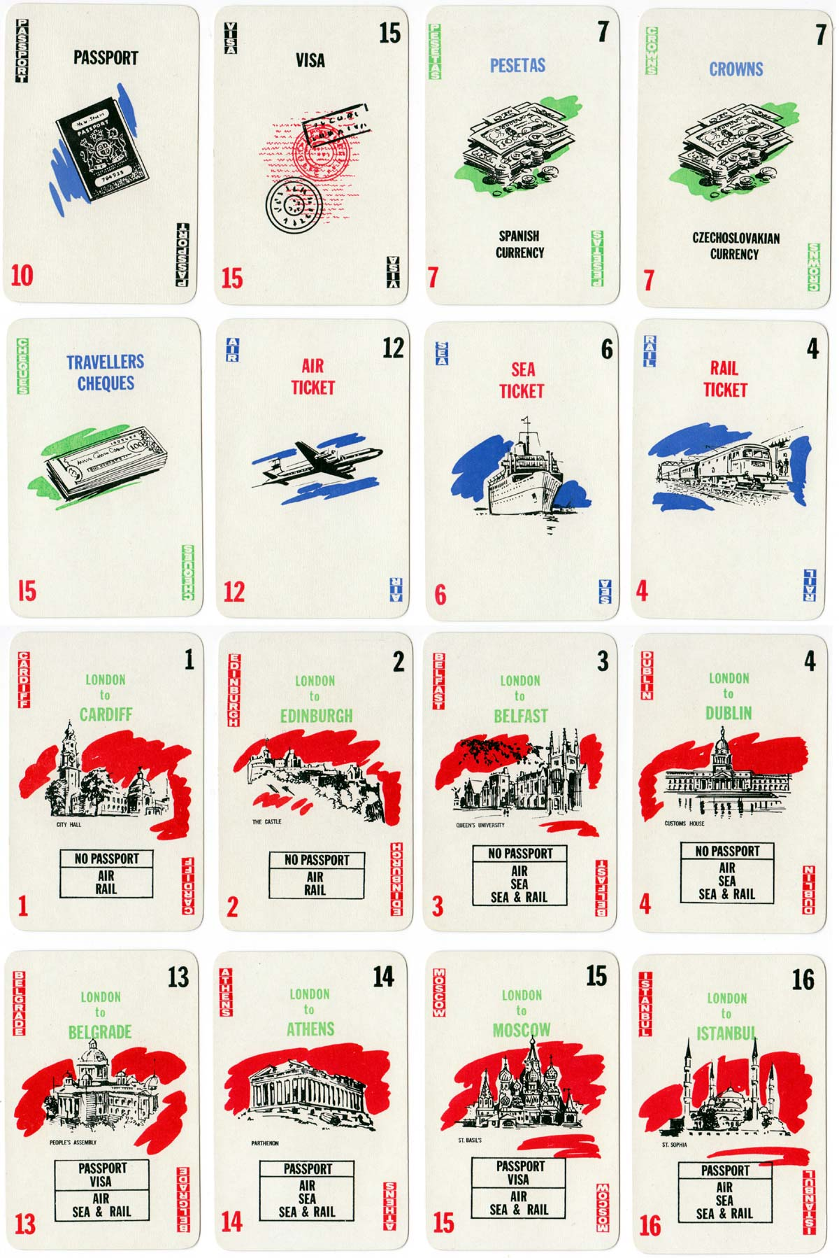 Travel Agent card game designed by Martin A. Foley and manufactured by Thomas de la Rue & Co Ltd, c.1960