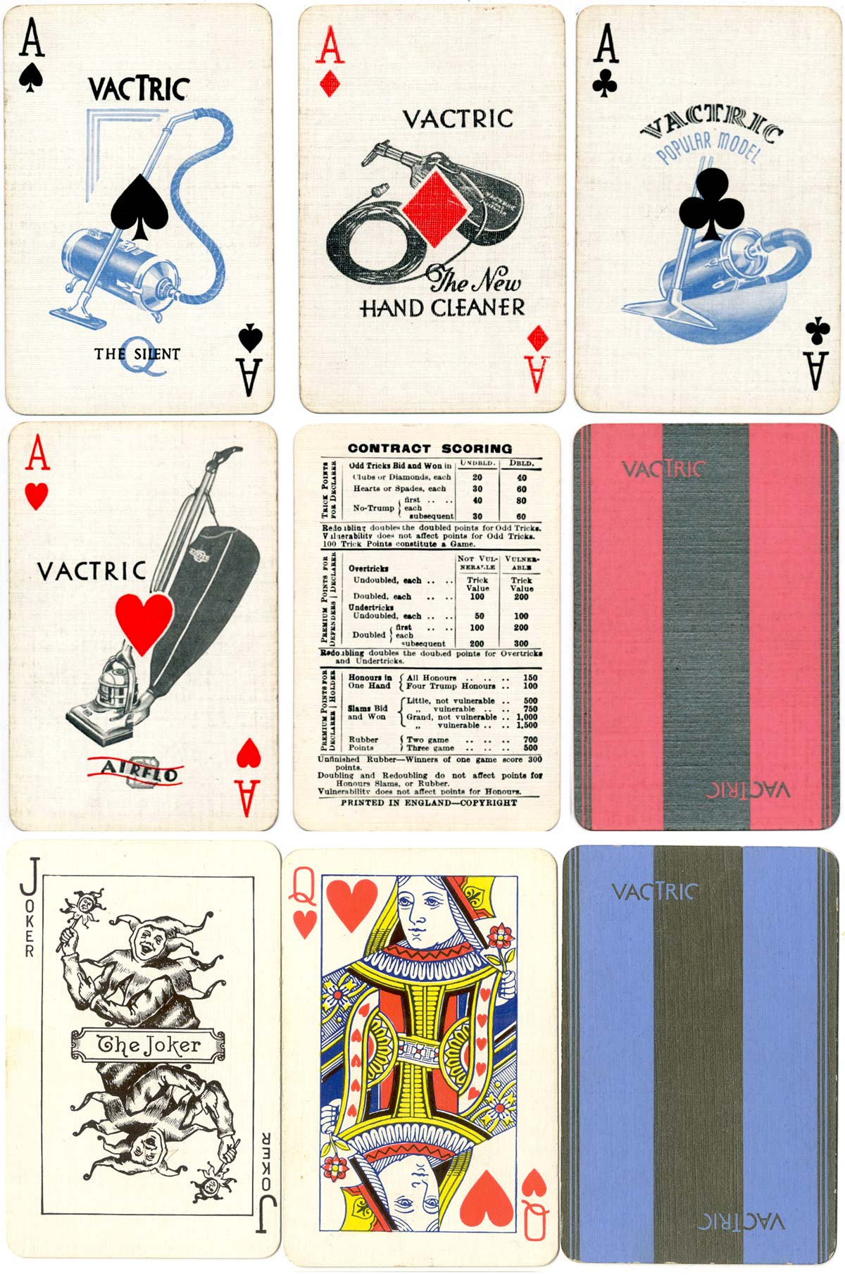 Vac-tric Electric Vacuum Cleaner playing cards manufactured by De la Rue, 1930s