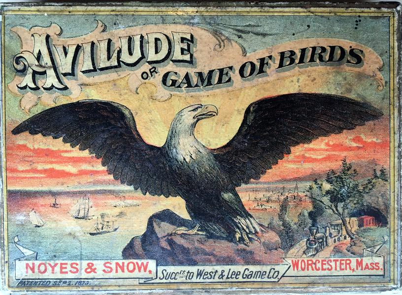 Box from 4th edition of Avilude or Game of Birds published by Noyes & Snow