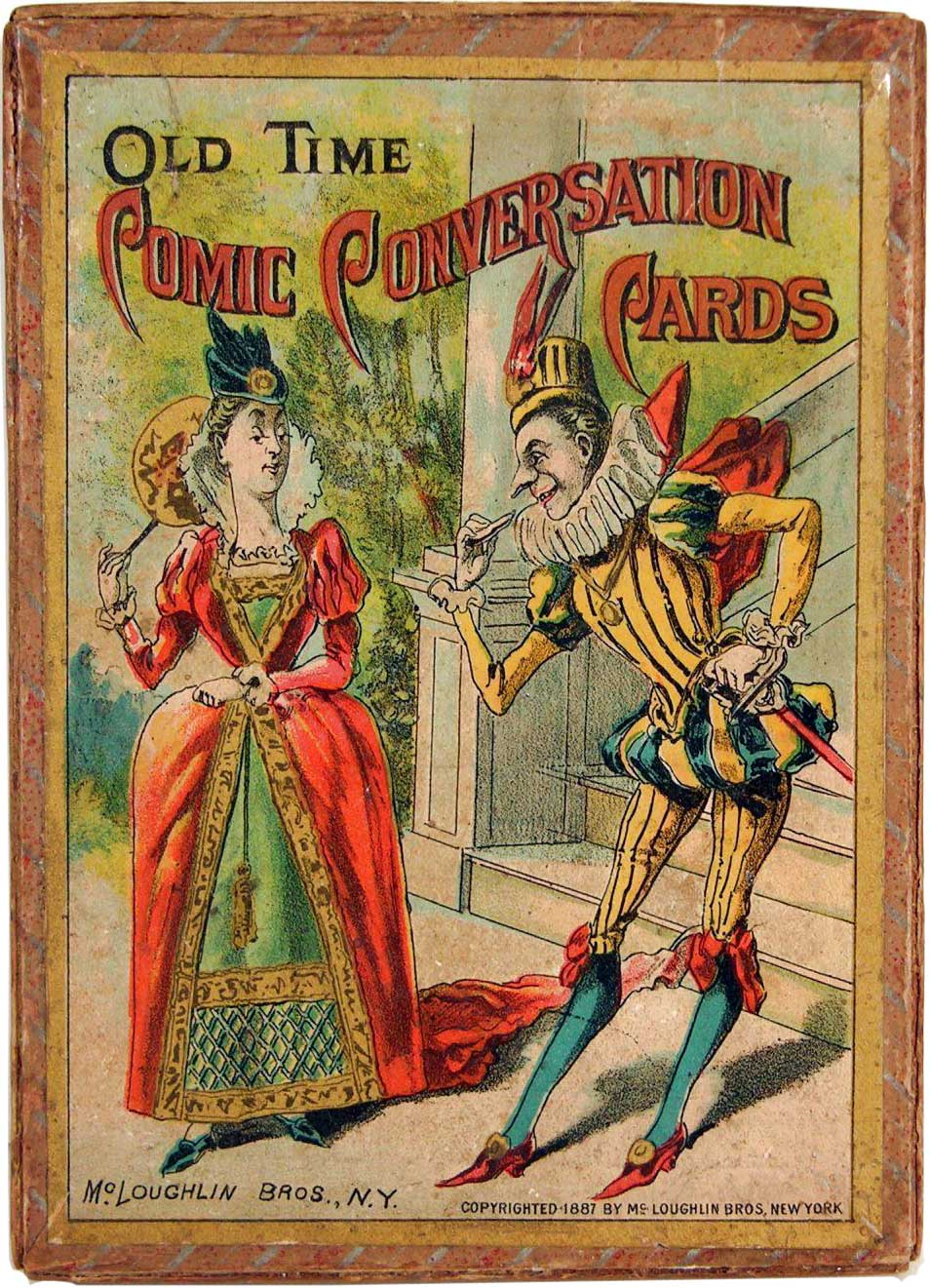 "Old Time ""Comic Conversation"" cards published by McLoughlin Bros, N.Y., c.1887"