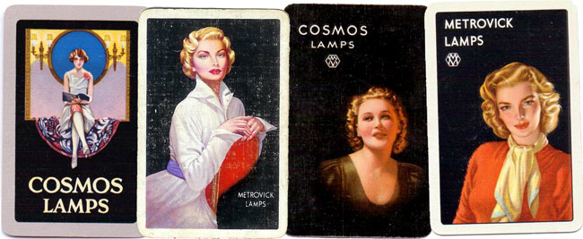 assorted Cosmos Lamps advertising playing cards, c.1930