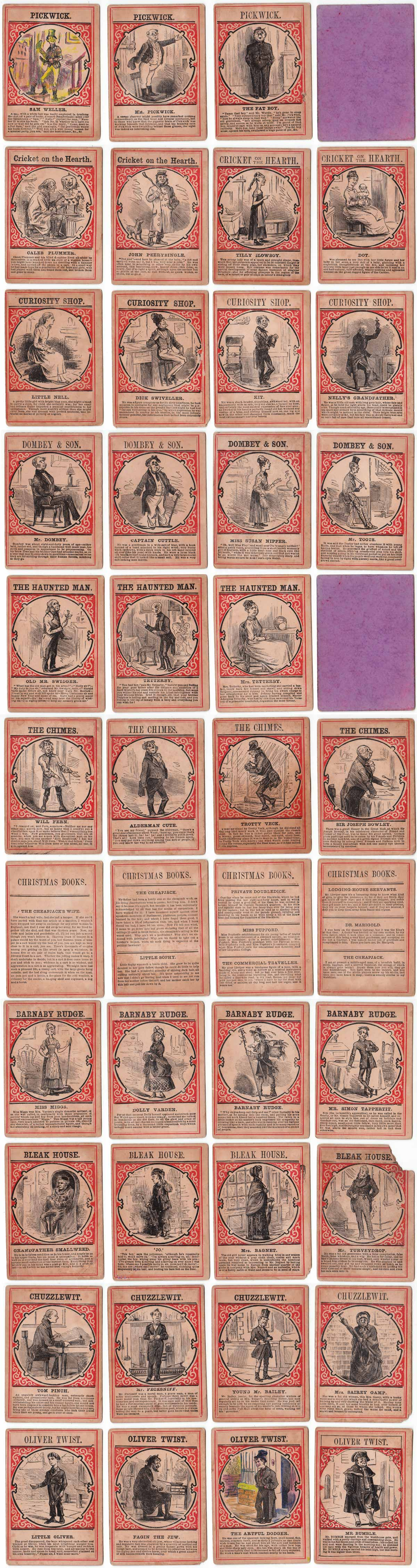 """Characters from Charles Dickens"" card game published by Jaques & Son, c.1880"