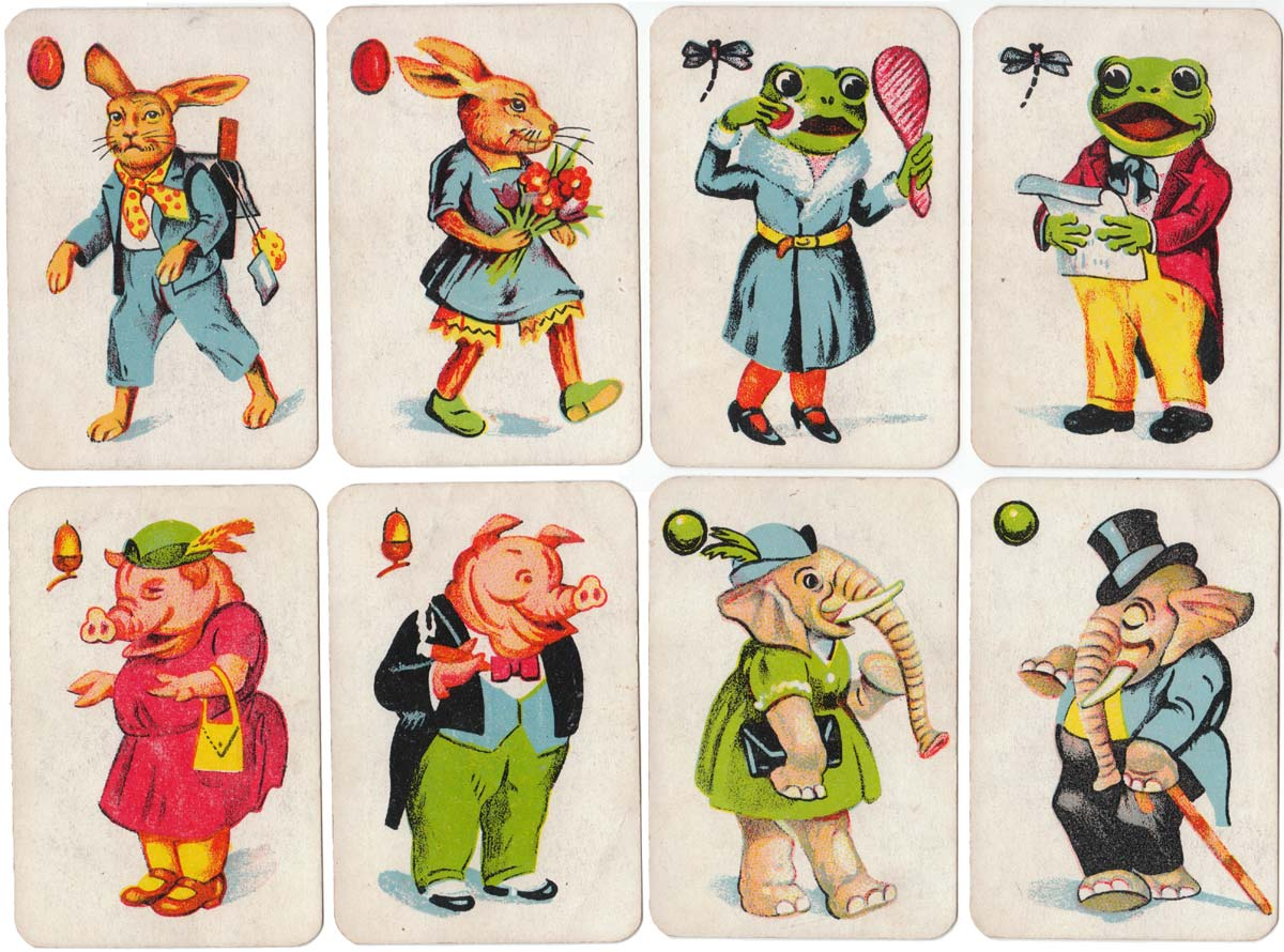 Schwarzer Peter (Old Maid) animal pairs card game produced in Germany, c.1920s