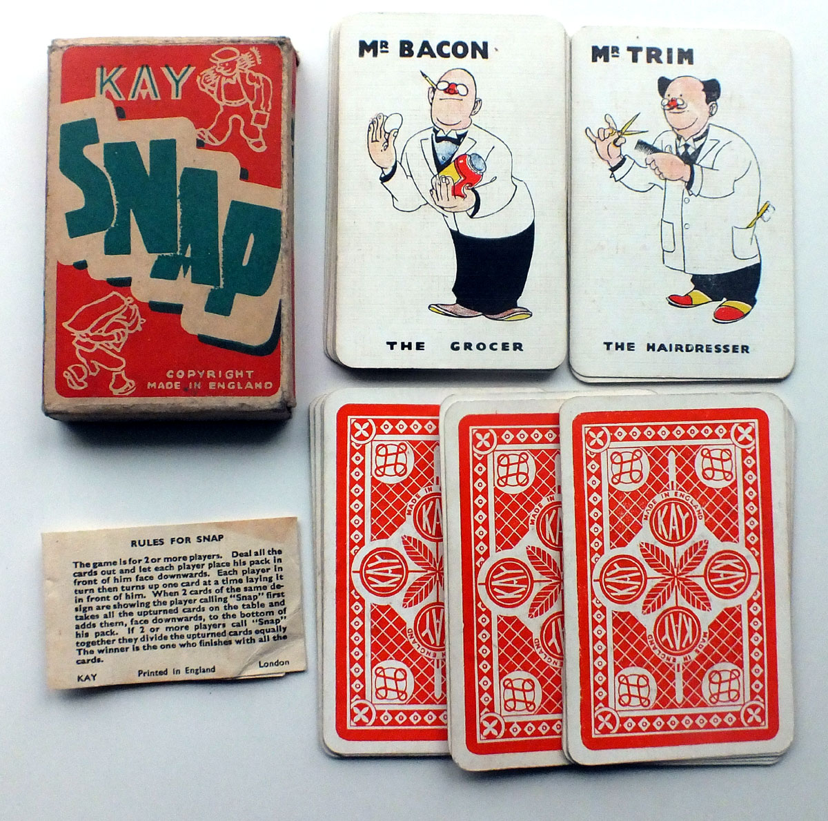 Kay Snap Card Game, Made in England, 1930s