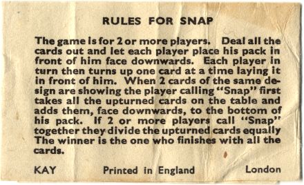 Kay Snap Card Game rules, Made in England, 1930s