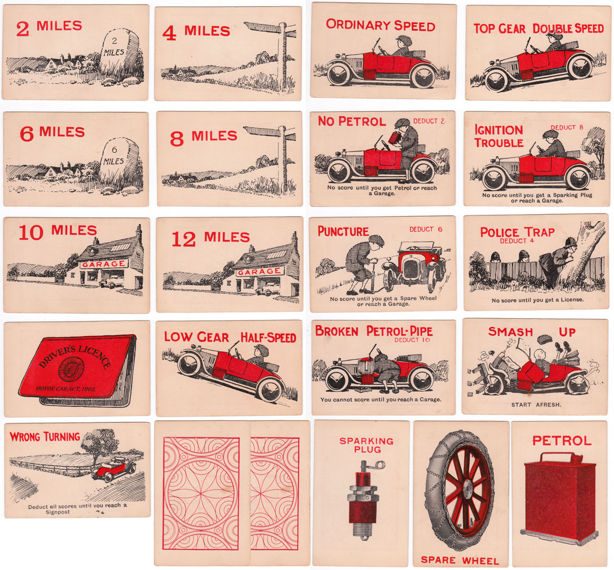 'The Motor Handicap' card game published by Philpott & Co., Surbiton, 1920