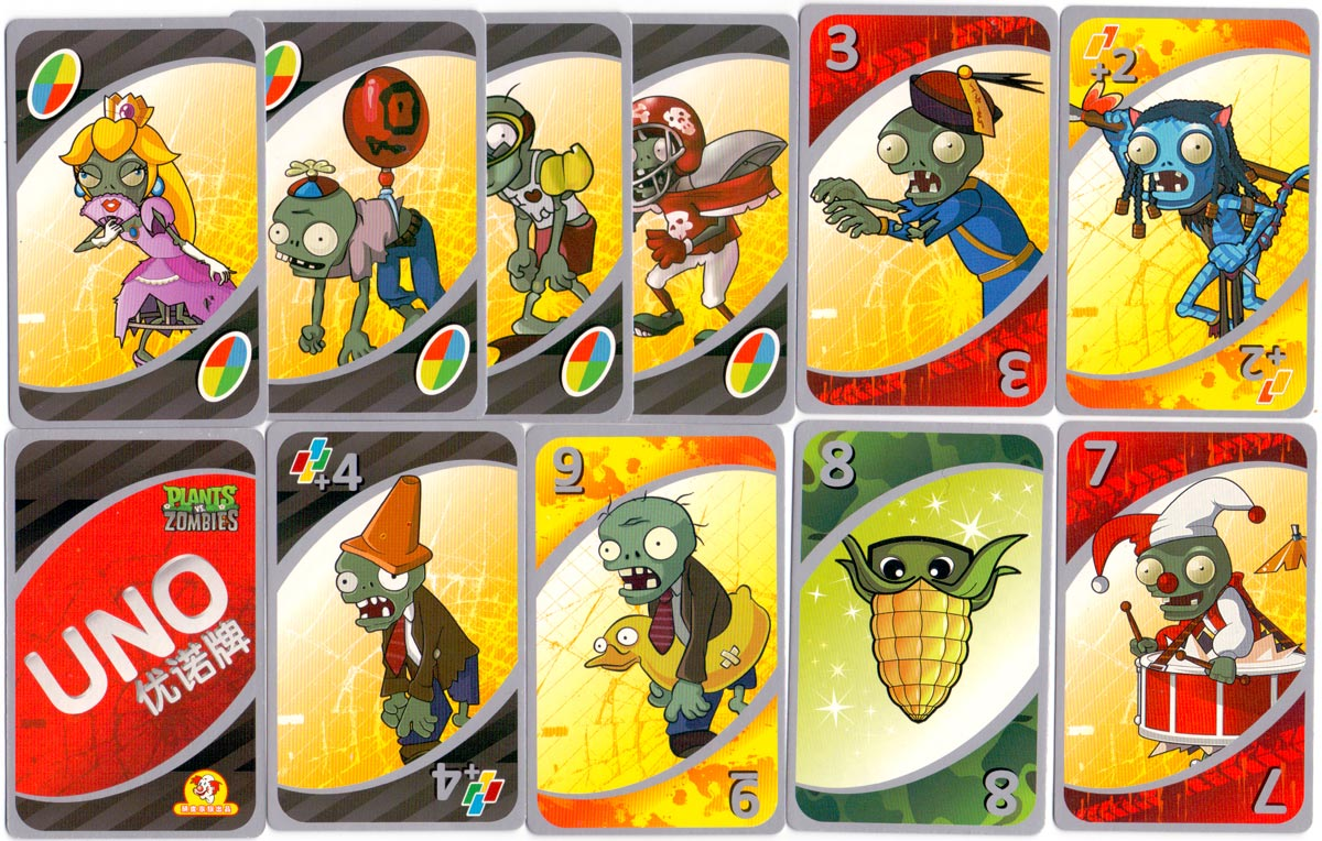 Plants vs. Zombies UNO card set Chinese edition, licensed by Mattel East Asia Limited, 2011