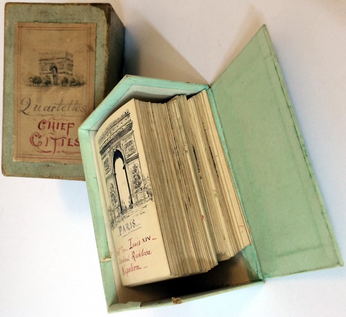 Hand-made 'Chief Cities Quartettes' card game, c.1910