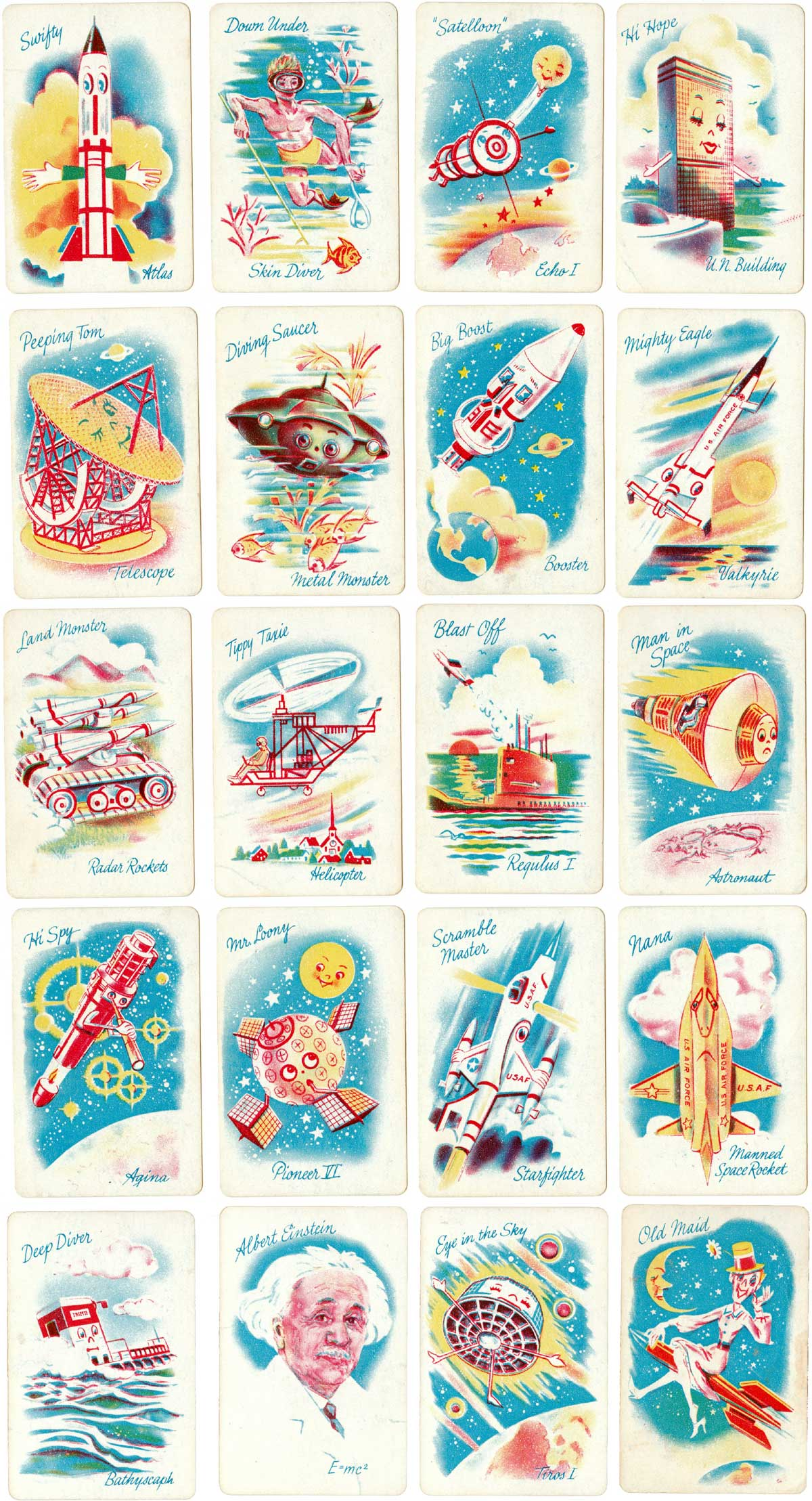The 'Space Age Game of Old Maid' published by Russell Manufacturing Company, Leicester, Massachusetts, USA, c.1965
