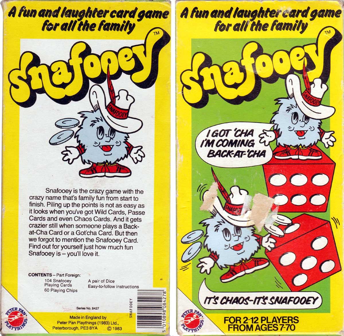 Snafooey card game by Peter Pan Playthings Ltd, Peterborough, 1983