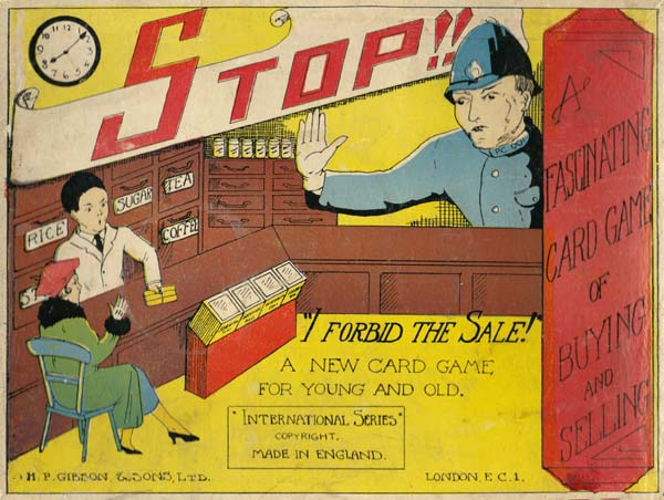 """""""Stop! I forbid the Sale!"""" card game published by H.P. Gibson & Sons Ltd, c.1939"""