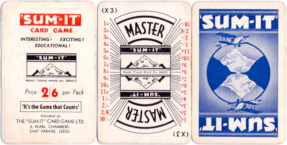 'Sum-it' published by Sum-It Card Games Ltd., c.1935
