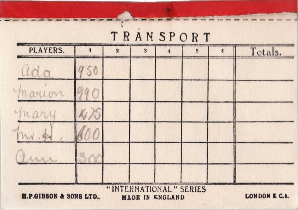 Transport card game published by H.P. Gibson & Sons Ltd in mid-1930s