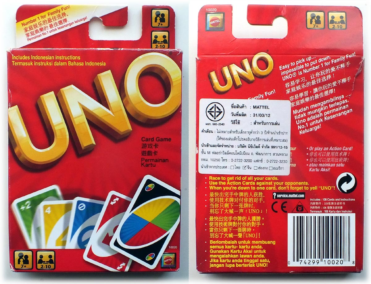 UNO Indonesian edition, licensed by Mattel for sale in Thailand, etc, 2011