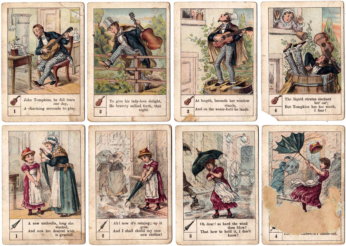 Ups and Downs card game published in UK by A. N. Myers, c.1885