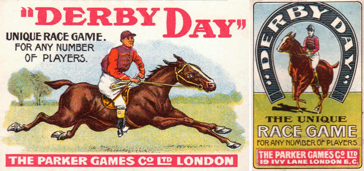 Derby Day race game published by Parker Games' English subsidiary at Ivy Lane, London, from 1908 to around 1920.