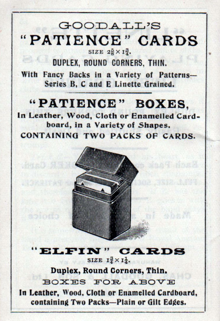 advert from Goodall's book on Auction bridge published in 1921