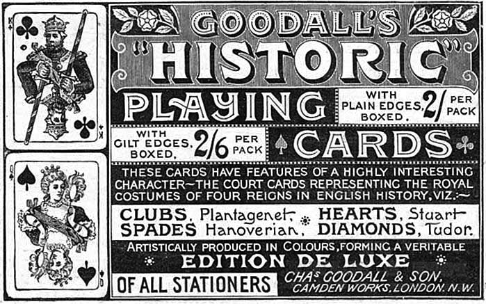 "Advertisement for Goodall's ""Historic"" Playing Cards, 1893"