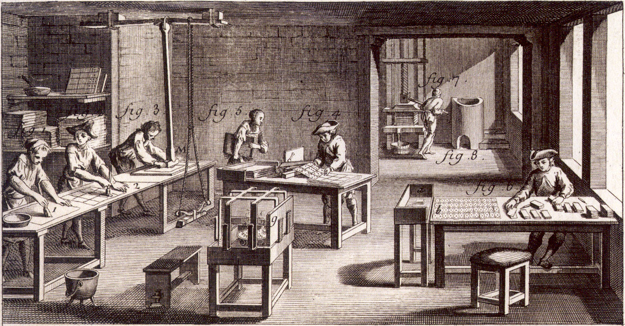 18th century cardmaker's workshop