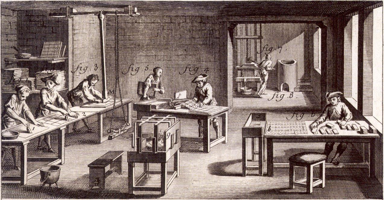 18th century cardmaker's workshop