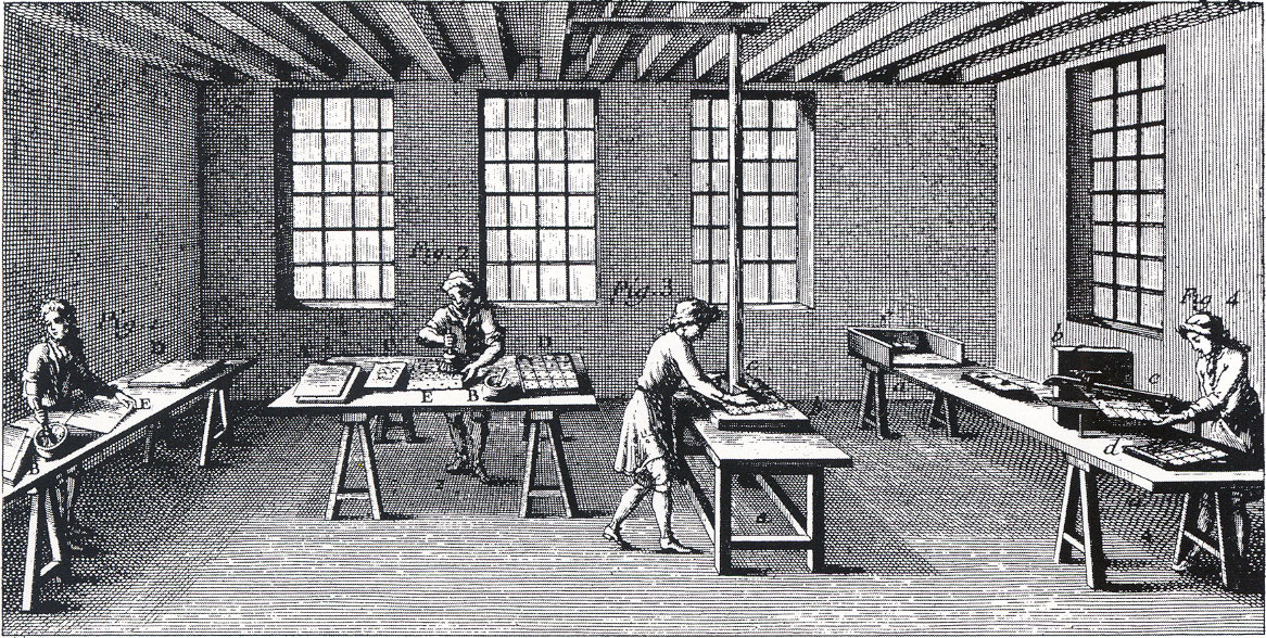 interior view of playing card workshop where colouring, polishing and cutting operations are taking place