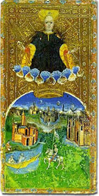 Visconti di Modrone tarocchi card, first half of fifteenth century. Cary-Yale collection.