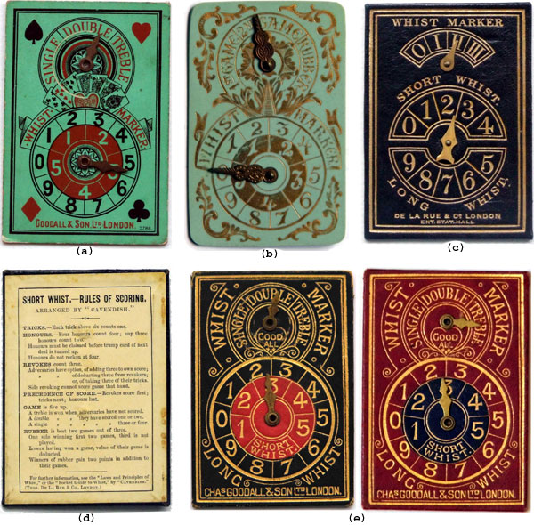 Whist markers manufactured by Chas Goodall & Son and De la Rue