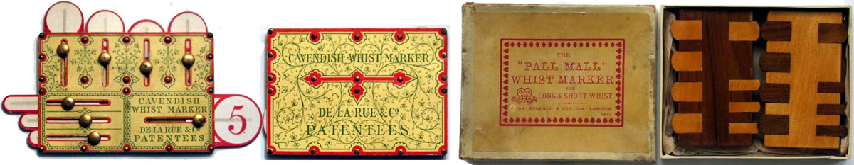 Whist markers manufactured by De la Rue & Co. and Chas Goodall & Son Ltd