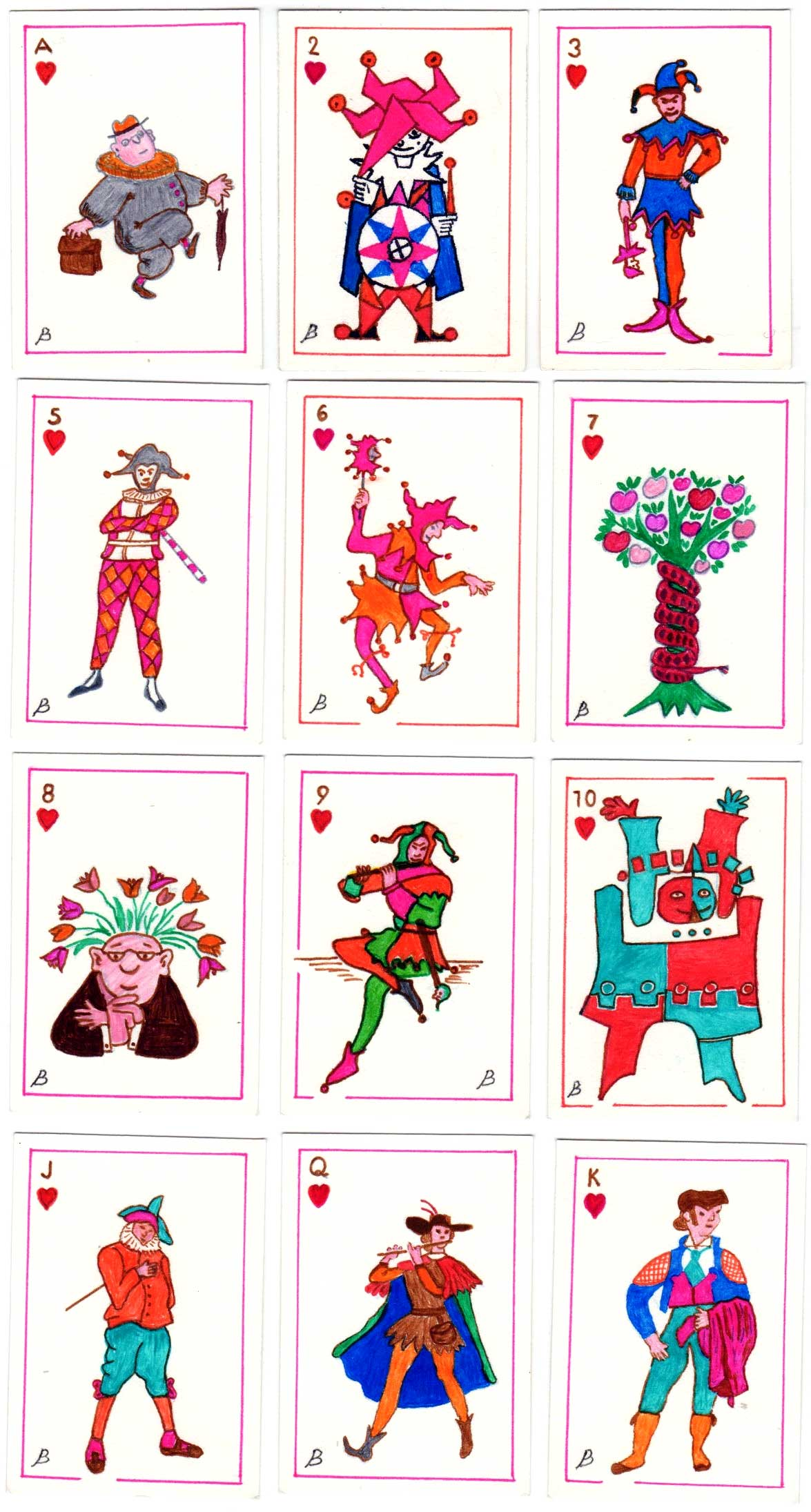 Pack of 52 hand-drawn Jokers