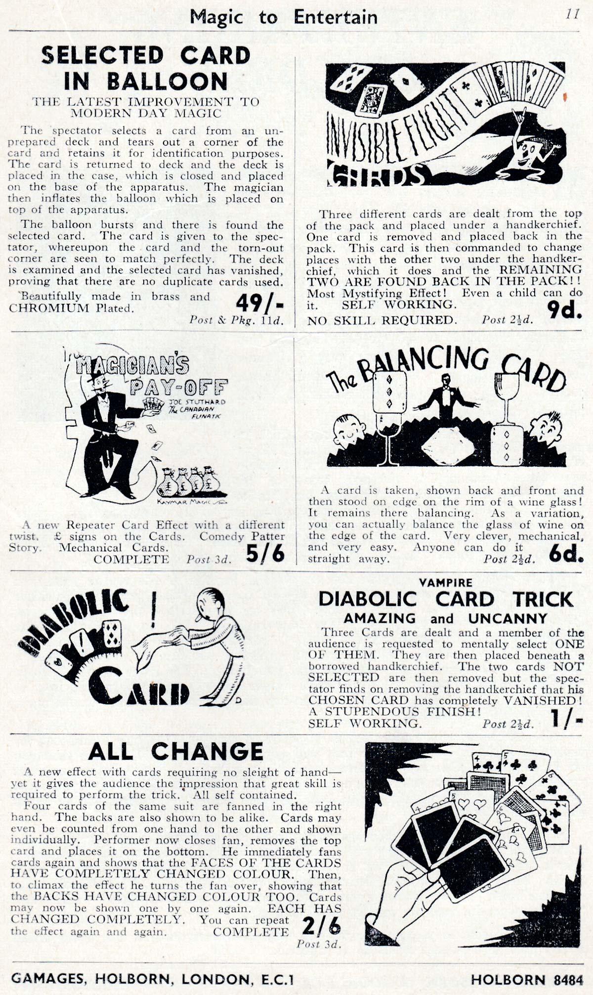 Gamagic Catalogue of Magic Card Tricks, c.1940