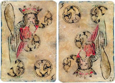 Naipe trucado del siglo XVIII. Dibujo a tinta sobre pergamino